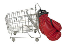 Shopping Cart and Boxing Gloves Stock Photos