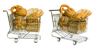 Shopping Cart With Bread royalty free stock images