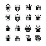 Shopping cart with bubble talk, status icons Royalty Free Stock Photo