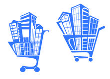 Shopping cart with buildings Stock Images