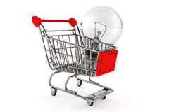 Shopping Cart with Bulb Royalty Free Stock Photos