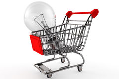 Shopping Cart with Bulb Royalty Free Stock Image