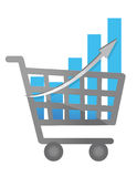 Shopping cart and business graph illustration Stock Image