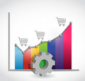 Shopping cart business graph illustration Stock Images