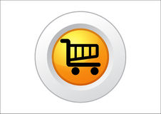Shopping Cart Button. Shopping cart web icon symbol button for e-commerce buying, vector Stock Image