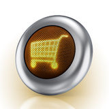 Shopping cart button. 3D illustration of a steel button which glowing shopping cart symbol Royalty Free Stock Images