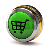 Shopping cart button. Isolated on white background Stock Photos