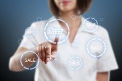 Shopping cart button. Woman hand pressing modern shopping cart button Stock Photography