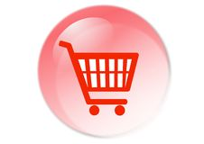 Shopping cart button. Web icon - computer generated illustration Stock Photography
