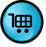 Shopping cart button. Aqua style shopping cart button (blue version Stock Photo