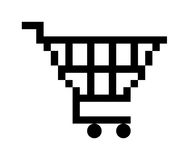 Shopping cart button. Black shopping cart button icon, isolated on white background Stock Image