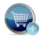 Shopping cart button illustration. Design over a white background Royalty Free Stock Photos