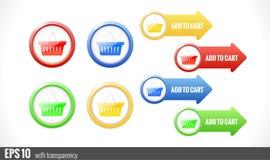Shopping cart buttons for website Stock Photos