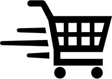 Shopping cart market. Shopping cart buy sell vector stock illustration