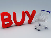 Shopping cart and buy text Stock Images
