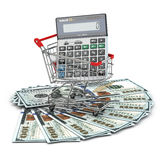 Shopping cart with calculator on dollar banknotes. Stock Images