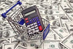 Shopping Cart with Calculator with empty display Stock Image