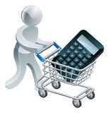 Shopping cart calculator person Royalty Free Stock Photos