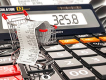 Shopping cart on calculator and receipt. Home budget or consumer. Ism concept. 3d Stock Photos