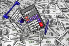 Shopping Cart with Calculator and 2015 sign on the Display Stock Image