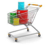 Shopping Cart and Cans of paint (clipping path included) Royalty Free Stock Photo