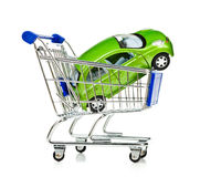 Shopping Cart with car Stock Photography