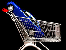Shopping cart with  car inside Royalty Free Stock Images