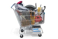 Shopping cart with car parts, 3D rendering vector illustration