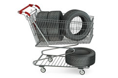 Shopping cart with car tires Royalty Free Stock Photo