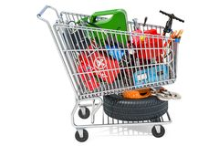 Shopping cart with car tools, equipment and accessories. 3D rend. Ering isolated on white background Stock Images