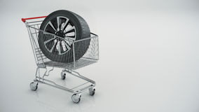 Shopping cart with Car wheel  Royalty Free Stock Image
