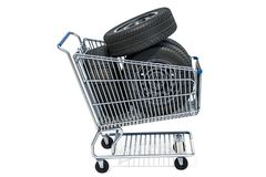 Shopping cart with car wheels, 3D rendering. Isolated on white background Stock Image