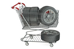 Shopping cart with car wheels Royalty Free Stock Photo