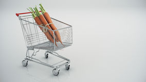 Shopping cart with carrots Stock Image