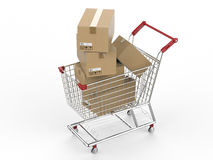Shopping cart with carton boxes. 3d rendering shopping cart with carton boxes Royalty Free Stock Photo