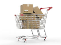 Shopping cart with carton boxes. 3d rendering shopping cart with carton boxes Stock Photography