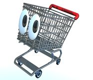 Shopping cart cartoon. Cute shopping cart character illustration with wide big eyes Royalty Free Stock Image