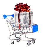 Shopping cart with cash Royalty Free Stock Photo