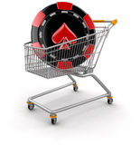 Shopping Cart and casino chip  (clipping path included) Stock Photo