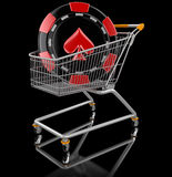Shopping Cart and casino chip  (clipping path included) Stock Photos