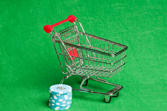 Shopping cart with casino chips Stock Image