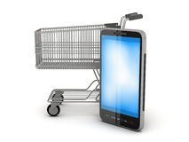 Shopping cart and cell phone. On white background Royalty Free Stock Photography