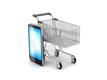 Shopping cart and cell phone. On white background Royalty Free Stock Photos