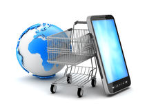 Shopping cart, cell phone and earth globe. On white background Stock Photography