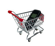 Shopping Cart with a cell phone Stock Photo
