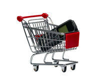 Shopping Cart with a cell phone Royalty Free Stock Photography