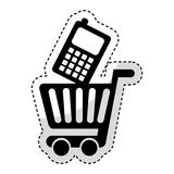 Shopping cart with cellphone Royalty Free Stock Photo