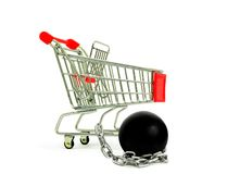 Shopping Cart and Chain Ball Royalty Free Stock Photo