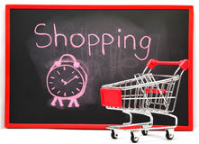 Shopping cart with chalk written word Stock Images