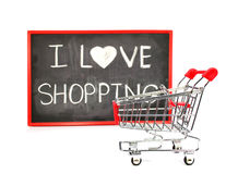 Shopping cart with chalk written word Stock Photo